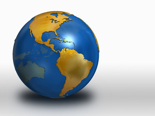 Blue and Gold Earth over white background - western hemisphere