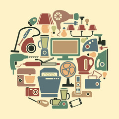 Set of icons of different home appliances
