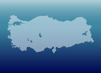 Beyaz  noktalardan oluşan Türkiye haritası
