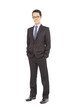 Full body portrait of young happy smiling cheerful businessman