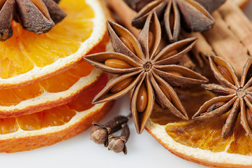 Orange slices and spices
