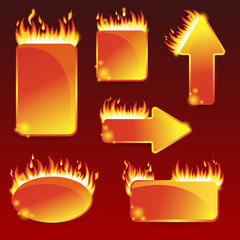 Burning with fire design sale stickers and tags