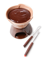 Chocolate fondue, isolated on white
