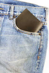 jeans pocket with a black card