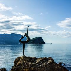 Sunrise seascape, Budva, Montenegro - ballerina statue