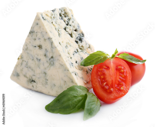 Tasty blue cheese with basil and tomato, isolated on white