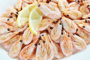 Cooked shrimps in a large plate
