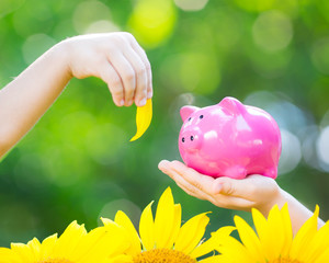 Piggybank and leaf in hands