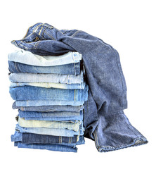 Lot of different blue jeans isolated