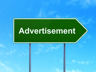 Marketing concept: Advertisement on road sign background