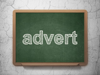 Advertising concept: Advert on chalkboard background