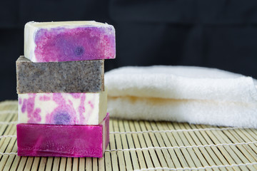 Stack of handmade soaps
