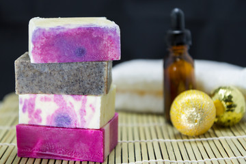 Stack of handmade soaps for spa