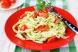 pasta with cherry tomato slices