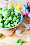 Fresh brussels sprouts on a plate