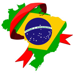 Brazil map with ribbon