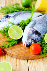 raw fish and ingredients, cooking