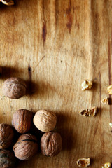 walnuts on old wooden background