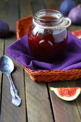 tasty jam in a glass jar