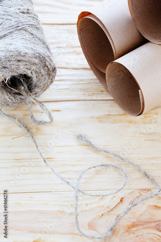 ball of twine and kraft paper