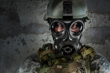 Gas Mask Soldier looking at camera