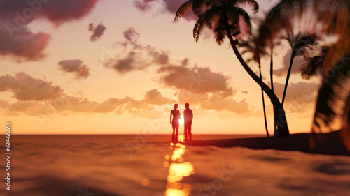 romantic couple on the tropical beach