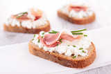 canape with cheese and prosciutto
