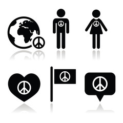 Peace sign with people and globe icons set