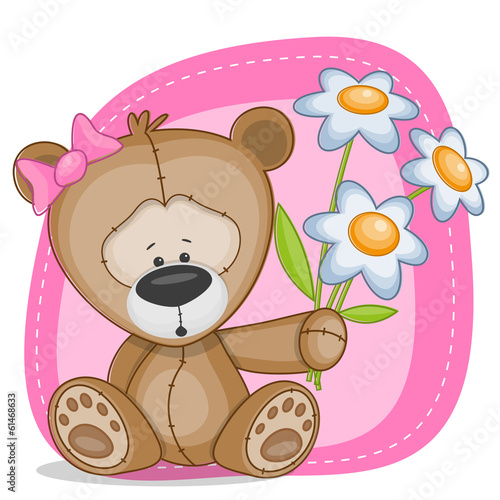 Bear girl with flowers