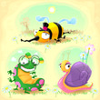 Two funny insects and one snail. with background.