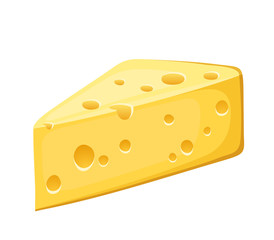 Piece of cheese. Vector illustration.
