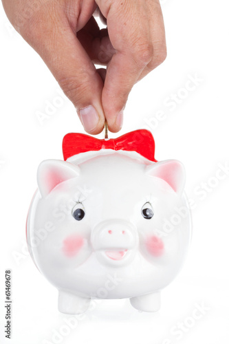 hand lowers a coin in a pig-coin box