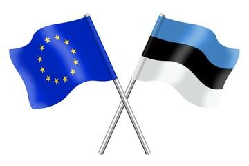 Flags : duet Europe and Estonia