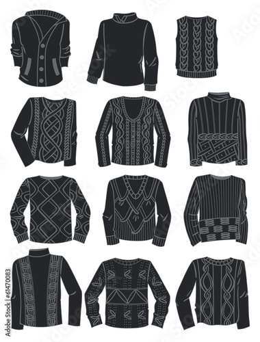 Silhouettes of men's sweaters
