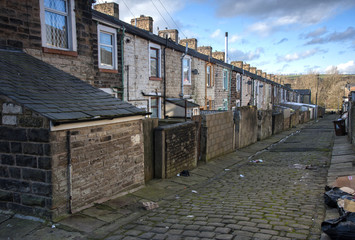 rear of terraced houses on lancashire cobbled street
