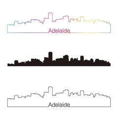 Adelaide skyline linear style with rainbow