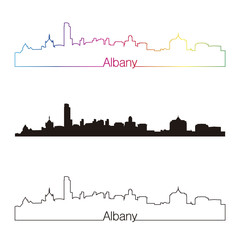 Albany skyline linear style with rainbow