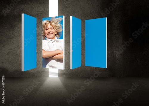Composite image of blonde boy on abstract screen