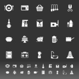 Home kitchen icons on gray background