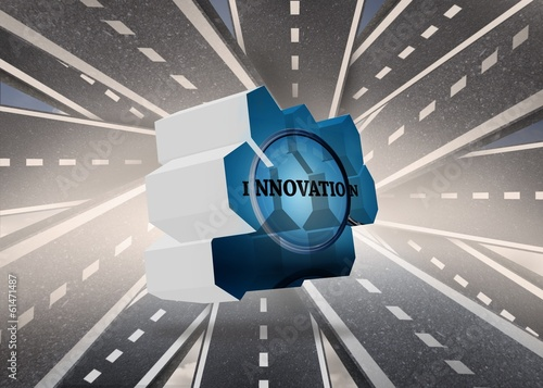 Composite image of innovate on abstract screen