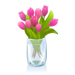 transparent vase with tulips