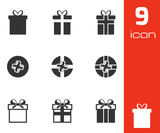 Vector black gift icons set