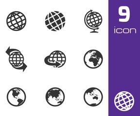 Vector black globe icons set