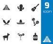Vector black mexico icons set