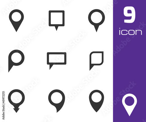 Vector black map pointer icons set