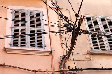 tangle of wires on the street