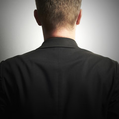 Man in Black Suit.without face.businessman.Men back