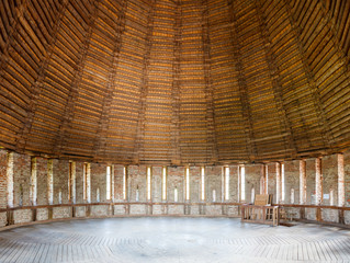 wooden dome of the defensive towers from inside