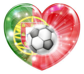 Portugal soccer heart flag