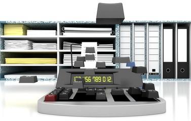 Calcolatrice, ufficio, imposte, scadenze